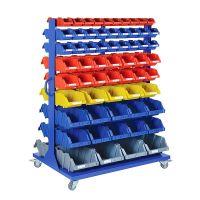 Rayonnage de stockage sur roulettes 1150x850x1530 mm - 118 bacs